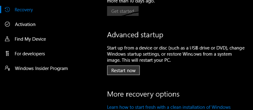 Windows 10 advance startup