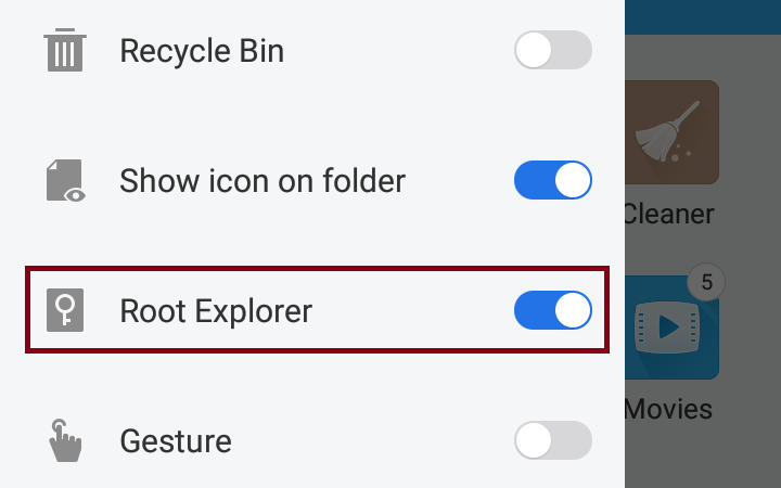 Enable Root Explorer