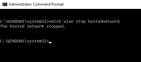 stop hosted network using cmd