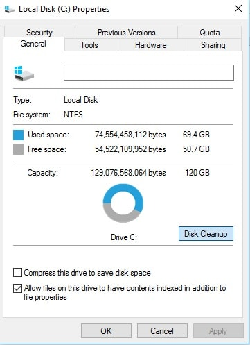Disk Cleanup Tool to free up hard drive space Windows
